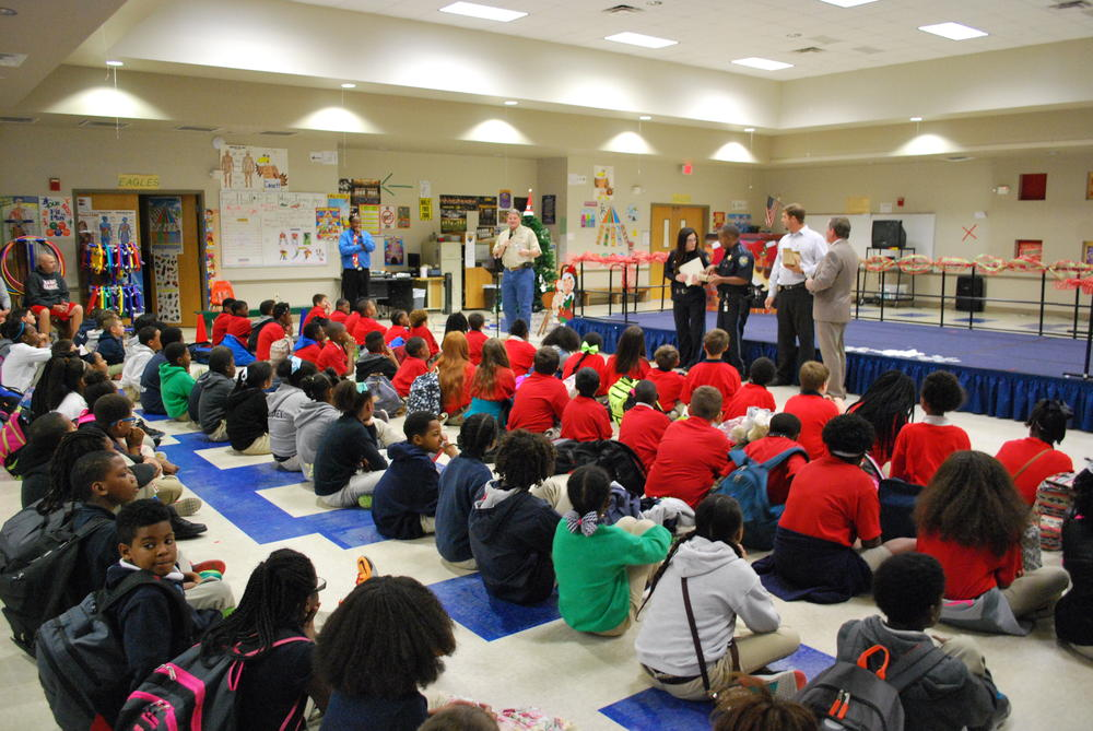 St. Mary Parish Sheriff Mark Hebert speaking to DARE students