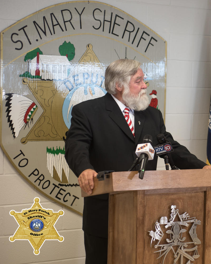 Sheriff Blaise Smith standing at a podium