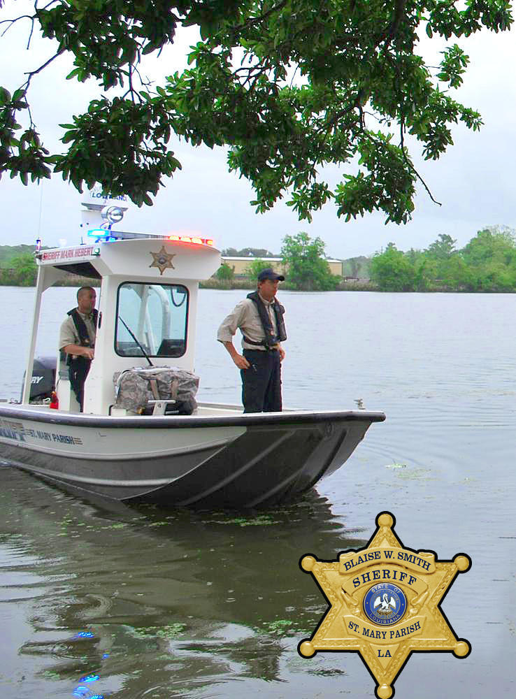 Officers in a boat out on the water