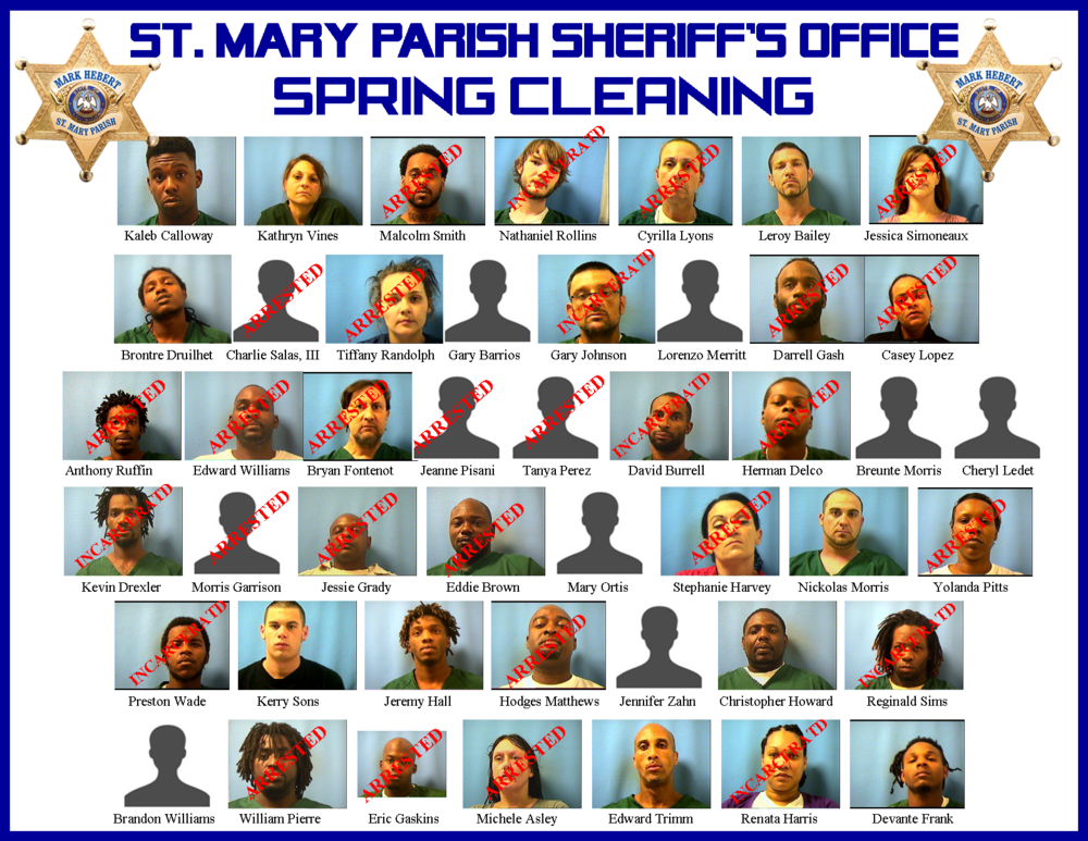 St. Mary Parish Sheriff's Office Spring Cleaning Status of Suspects.png