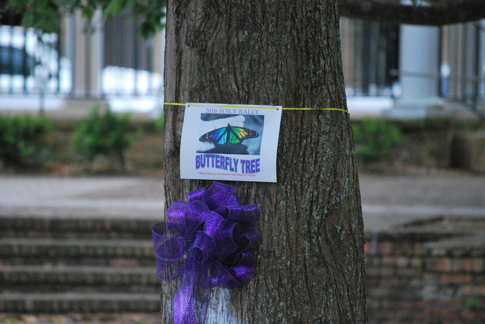 paper tied to a tree that says Butterfly Tree